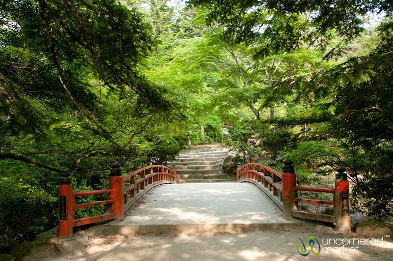 Japanese Bridge in Park on Miyajima Island, Japan