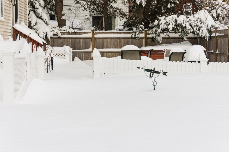 Feb 9, 2013 - This is our backyard buried under the snow.  The yard had no snow the day before.