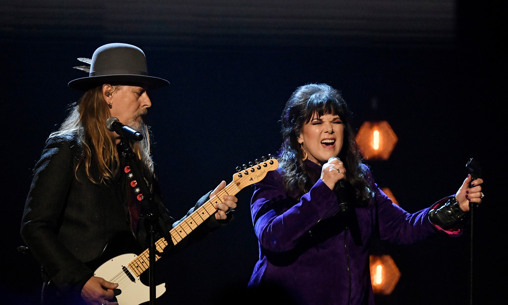 . Jerry Cantrell, left, and Ann Wilson perform during the Rock and Roll Hall of Fame induction ceremony, Saturday, April 14, 2018, in Cleveland. (AP Photo/David Richard)
