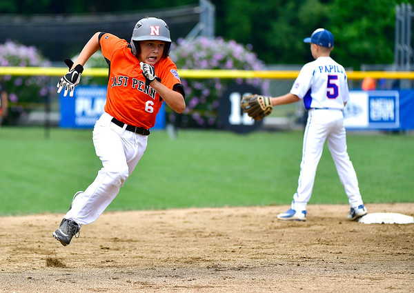 8/6/2019 Mike Orazzi | Staff Pennsylvania's Aaron Angelo (6) rounds second during their second game of the Little League Mid-Atlantic regional on Aug. 6, 2019 at Breen Field in Bristol, Ct.