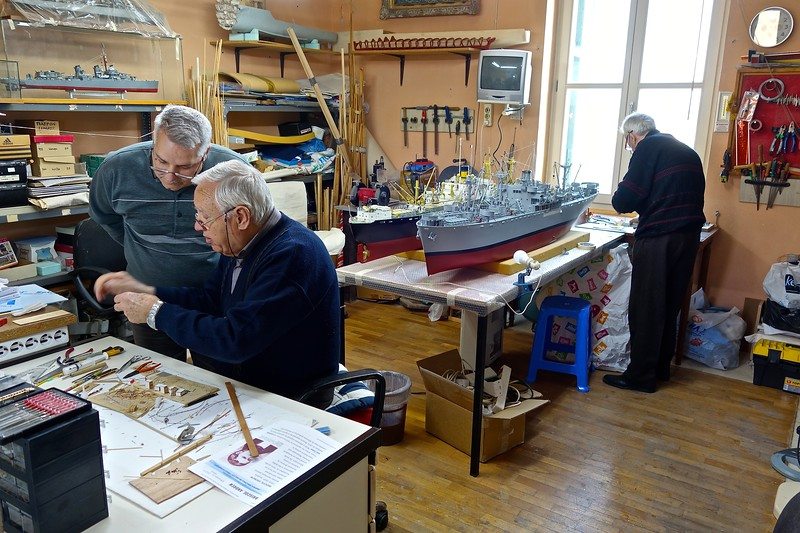volunteers working on models at Maritime Museum, Chania