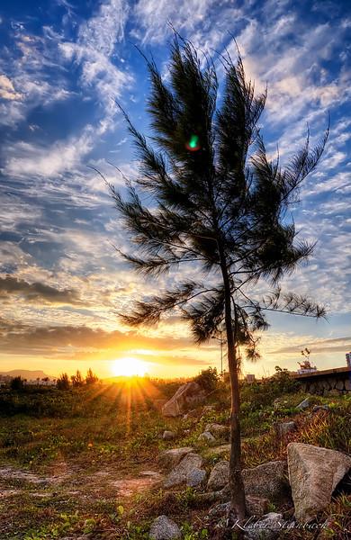 Orla da beira mar de São José ao por do sol, Brasil