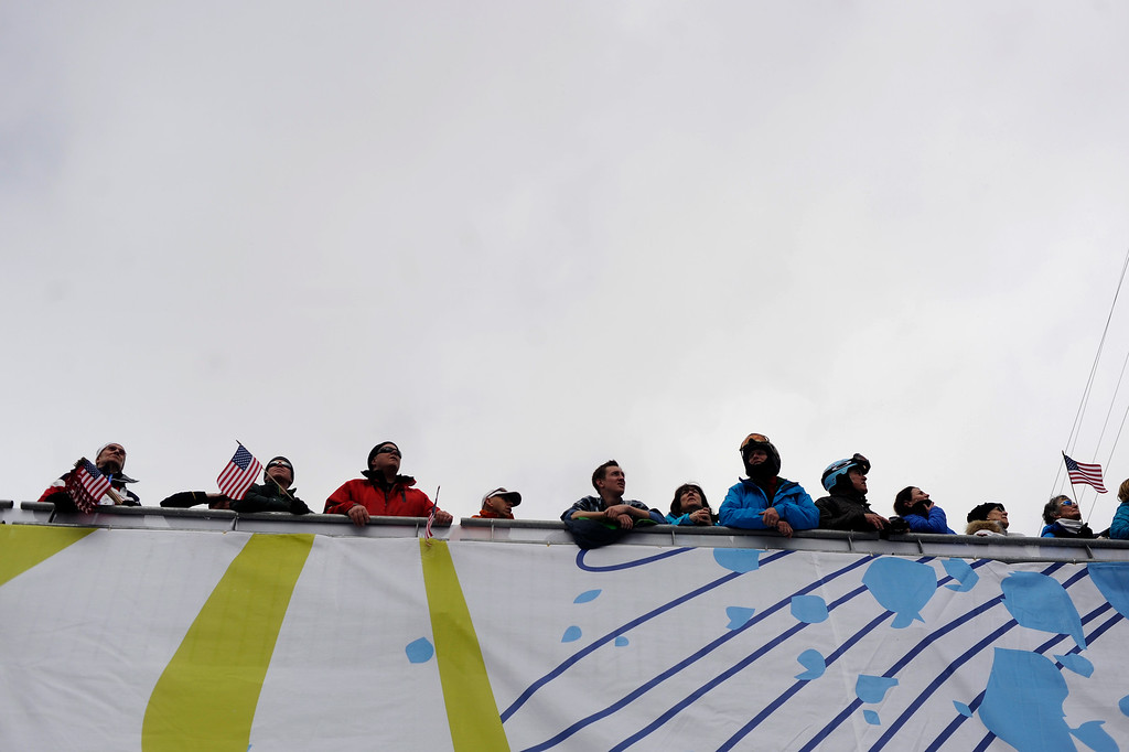 . BEAVER CREEK, CO - FEBRUARY 03: Fans watch the action during the the ladies\' super-G final. FIS Alpine World Ski Championships 2015 on Tuesday, February 3, 2015. (Photo by AAron Ontiveroz/The Denver Post)