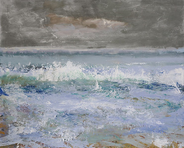 "Seascape by Cecil, 52""x63"" painting on loose canvas (18-9-07)"