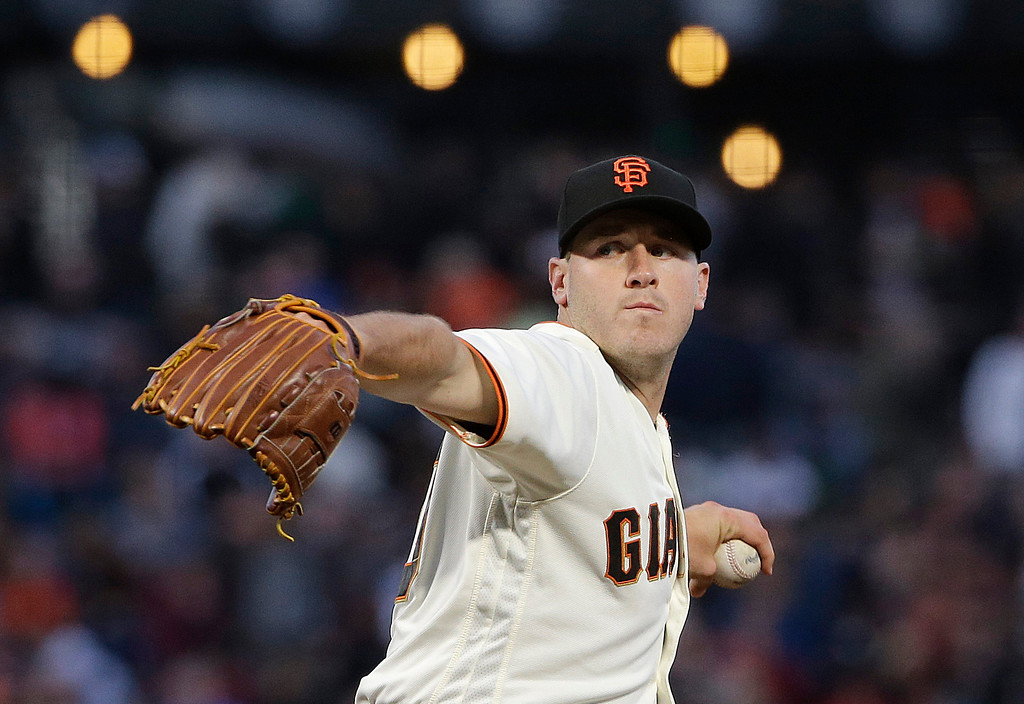 . San Francisco Giants pitcher Ty Blach throws to a Cleveland Indians batter during the fourth inning of a baseball game in San Francisco, Tuesday, July 18, 2017. (AP Photo/Jeff Chiu)