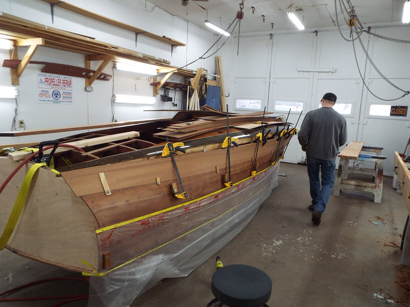 Another view of the last starboard plank being fit.
