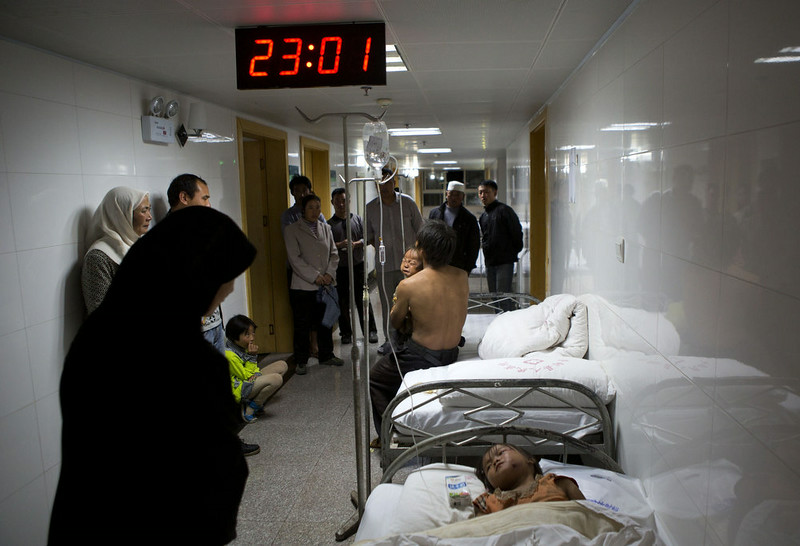 . This picture taken on August 3, 2014 shows victims staying in the corridor of a hospital during the first night after a 6.1 magnitude earthquake hit Ludian county in Zhaotong, in southwest China\'s Yunnan province.  More than 367 people died and nearly 2,000 were injured when a strong earthquake hit southwest China\'s mountainous Yunnan province on August 3, bringing homes crashing to the ground and sparking a massive relief operation.  STR/AFP/Getty Images