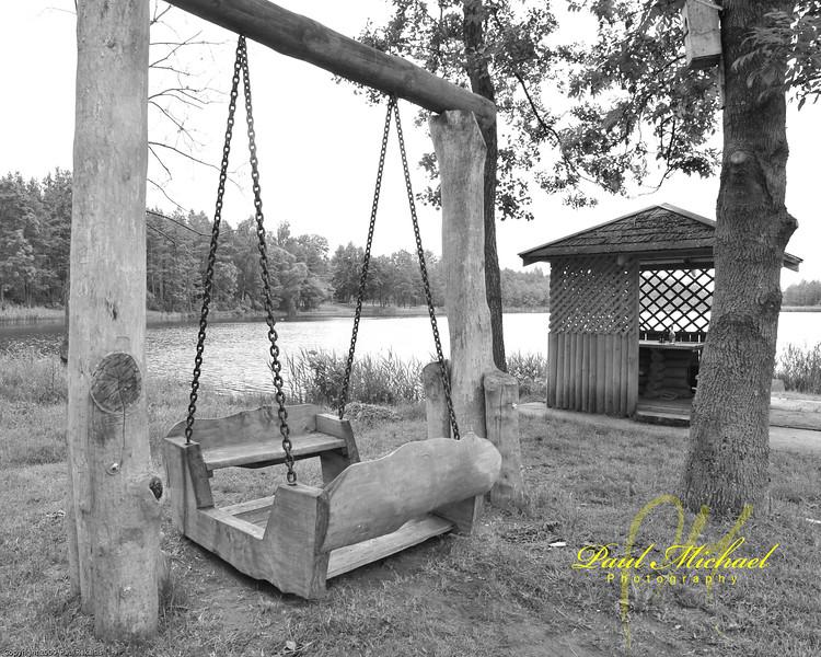 Hand made swing for six kids near lake.