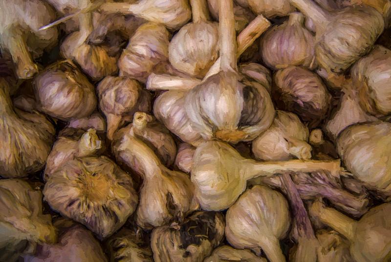 Garlic bulbs, a painterly version