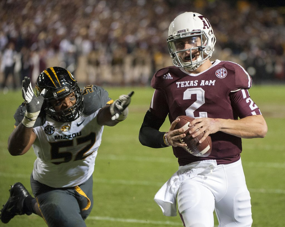 ". <p>9. JOHNNY MANZIEL <p>He�ll be Johnny Bench for just two quarters thanks to NCAA�s gentle slap on his non-signing wrist. (1) <p><b><a href=\'http://espn.go.com/college-football/story/_/id/9609389/johnny-manziel-texas-aggies-suspended-1st-half-season-opener-rice-owls\' target=""_blank\""> HUH?</a></b> <p>    (AP Photo/Dave Einsel)"