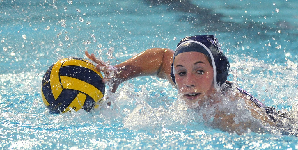 . Crescenta Valley\'s Elissa Arnola (#16) looks to pass the ball as they play Redlands East Valley in the Southern Section Div. V semifinals girls water polo game at Whittier College\'s Lillian Slade Aquatics Center on Wednesday February 20, 2013. Crescenta Valley beat Redlands East Valley 14-4. (Staff photo by Keith Durflinger)