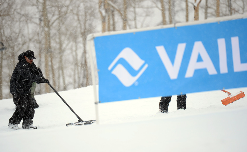 . VAIL, CO. - MARCH 1: Ground crews are taking care of the course during the men\'s slopestyle final of Burton U.S. Open. March 1, 2013. Vail, Colorado. (Photo By Hyoung Chang/The Denver Post)