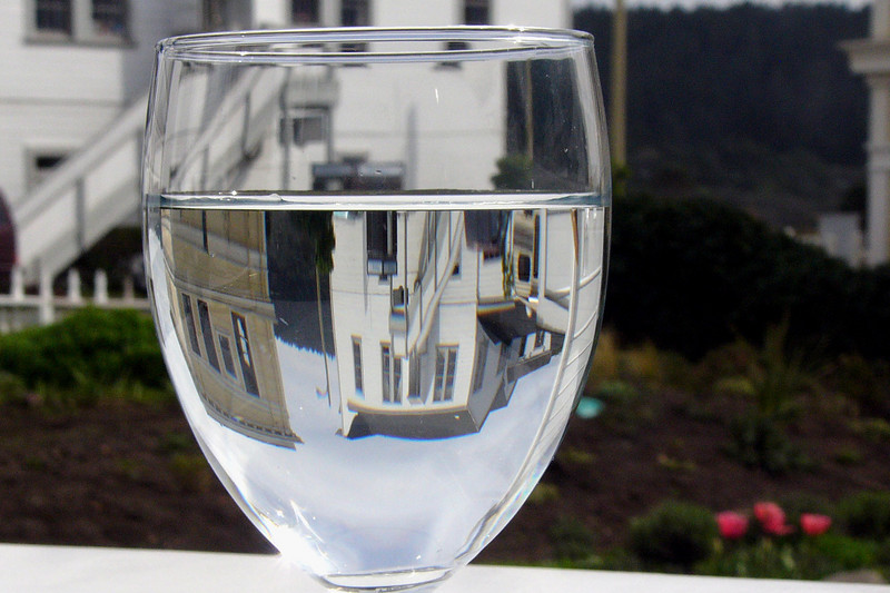 Even a simple glass of water is somehow special in Mendocino.