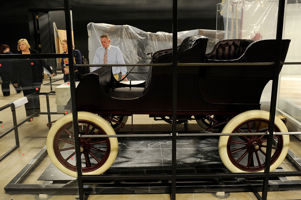 """. A 1902 wooden car called \""""The Tourist\"""" was built by The Auto Vehicle Company in Los Angeles. It is on display at the \""""Becoming Los Angeles\"""" exhibition that is set to open at the Natural History Museum of Los Angeles County in July. (Michael Owen Baker/Staff Photographer)"""