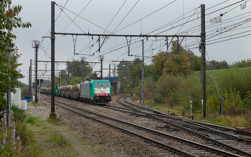 2805 brings coils bound for Liege past the old yard lead in Hindel.