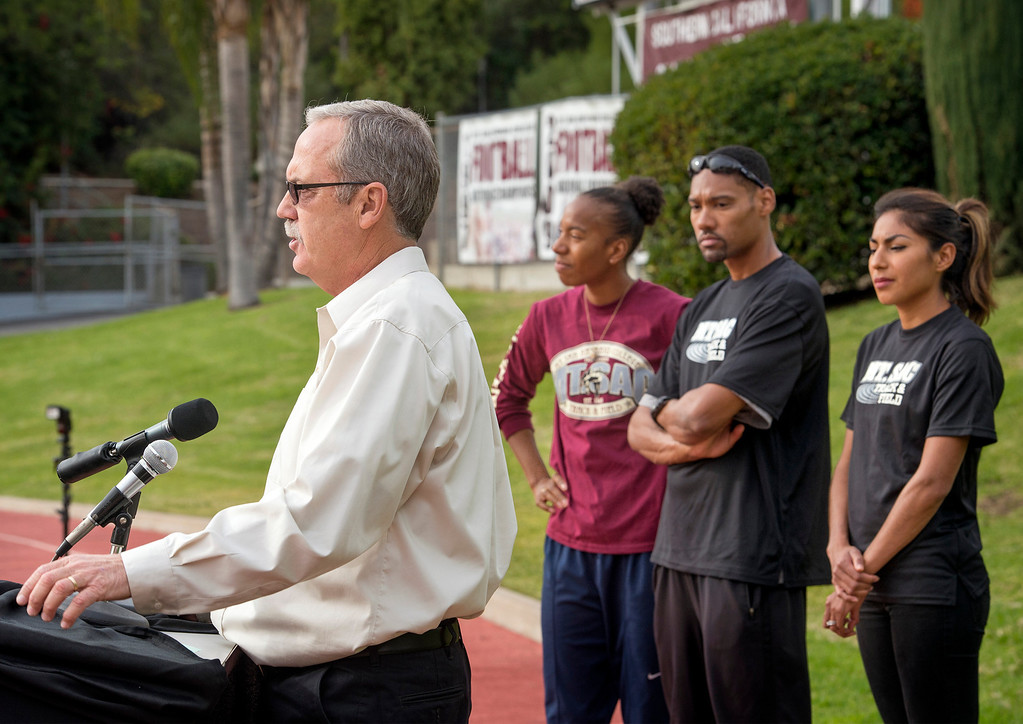 . Director of athletic special events Doug Todd speaks during a press conference announcing the renovation of Mt. SAC\'s Hilmer Lodge Stadium at the Walnut campus Dec. 2, 2013.  The renovation would qualify the stadium to apply for consideration as the track and field venue of the 2020 Olympics.    (Staff photo by Leo Jarzomb/San Gabriel Valley Tribune)