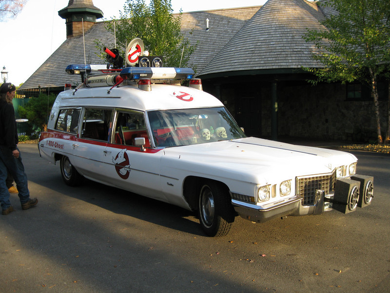 The Ghostbusters' Ecto-1 car was in the park.
