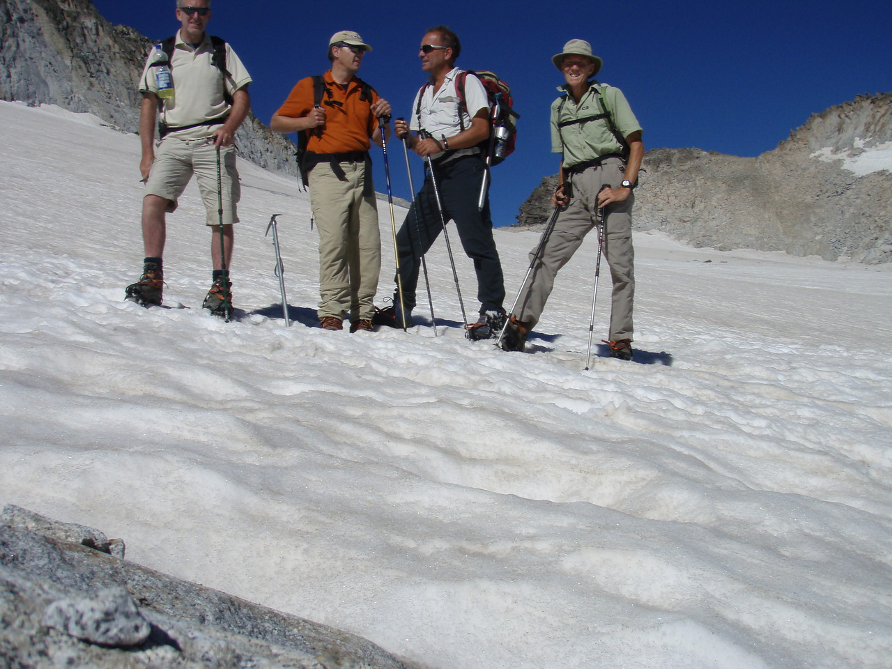 Edward, Albert, Alfred and Vic on the slippery slope of Pico Aneto Glacier
