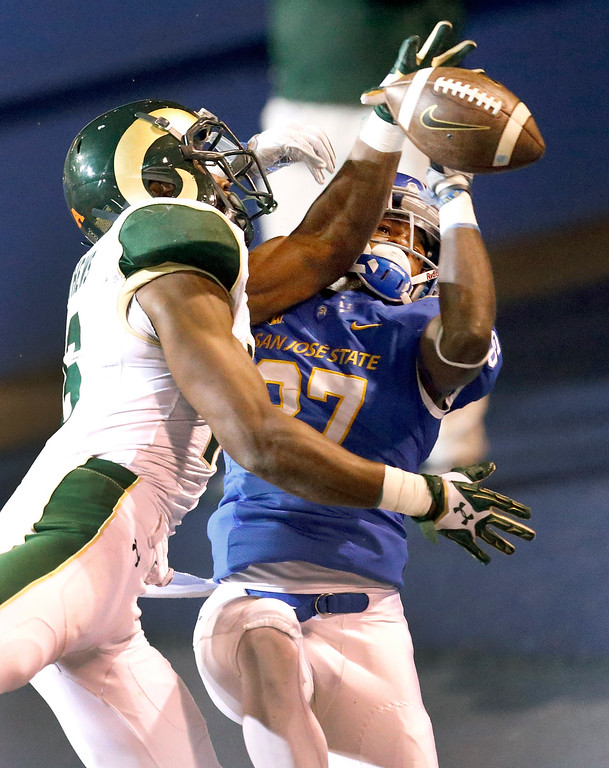 . Colorado State safety Trent Matthews (16) breaks up a pass in the end zone for San Jose State wide receiver Hansell Wilson (87) during the second half of an NCAA college football game Saturday, Nov. 1, 2014, in San Jose, Calif. Colorado State won 38-31. (AP Photo/Tony Avelar)