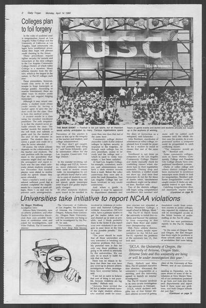 Daily Trojan, Vol. 88, No. 43, April 14, 1980