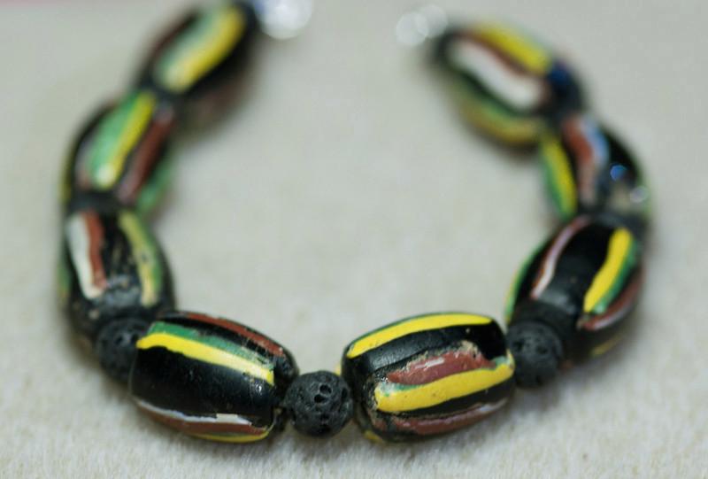 Rastafarian Ceramic Beads with Lava Rock Beads