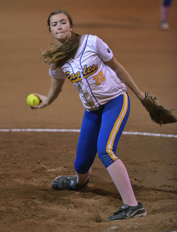 . 05-03-2013-(LANG Staff Photo by Sean Hiller)-  El Segundo\'s pitcher Shannon Brooker fires off a pitch to Agoura in the El Segundo Softball Tournament final Saturday night at Recreation Field in El Segundo.
