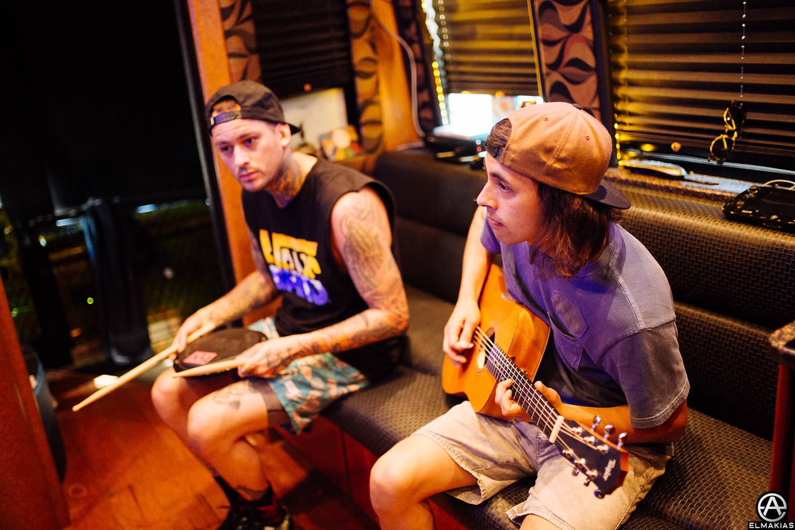 Mike Fuentes and Vic Fuentes of Pierce the Veil at Warped Tour 2015 by Adam Elmakias