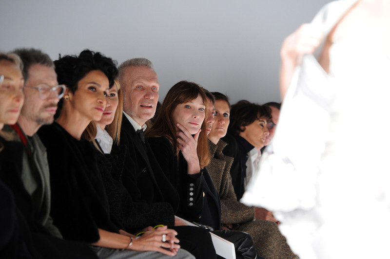 . Jean Paul Gaultier and Carla Bruni-Sarkozy attend the Schiaparelli show as part of Paris Fashion Week Haute Couture Spring/Summer 2014 on January 20, 2014 in Paris, France.  (Photo by Pascal Le Segretain/Getty Images)