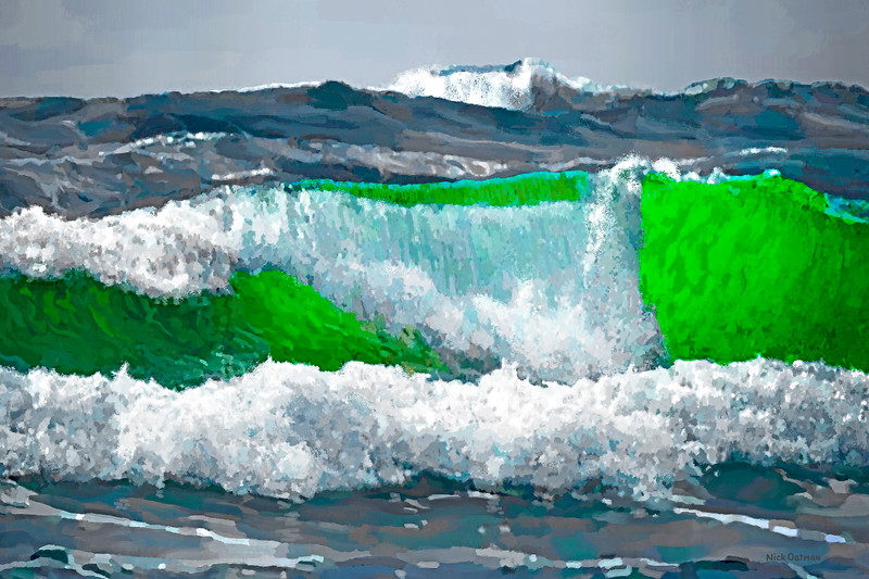 Green Wave  1 - Digital Painting