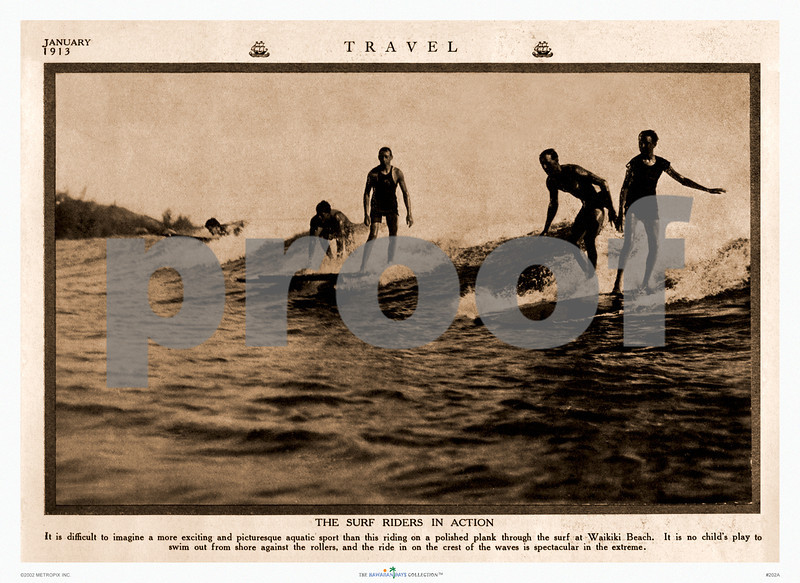 """202: Print of Vintage Hawaiian Photograph - Caption reads: """"The Surf Riders in Action -- It is difficult to imagine a more exciting and picturesque aquatic sport than this riding on a polished plank through the surf at Waikiki Beach. It is no child's play to swim out from shore against the rollers, and the ride in on the crest of the waves is spectacular in the extreme."""" Paradise of the Pacific Photograph, ca 1921. (PROOF watermark will not appear on your print)"""