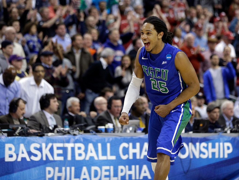 . Florida Gulf Coast\'s Sherwood Brown celebrates after winning a second-round game against Georgetown 78-68 in the NCAA college basketball tournament on Friday, March 22, 2013, in Philadelphia. (AP Photo/Matt Rourke)