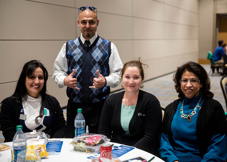 April Jasso (left), Adam Gongora, Adriana Jimenez and Dora Graza enjoy lunch during the Faculty and Staff Alumni Luncheon.