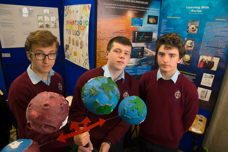 """01/05/2018. SciFest at WIT (Waterford Institute of Technology) at the Arena. Pictured are Adham Monahan, Ryan Kidby and Michal Wilkowski  from from CBS New Ross with their project """"Could Mars have sustained life"""". Picture: Patrick Browne"""