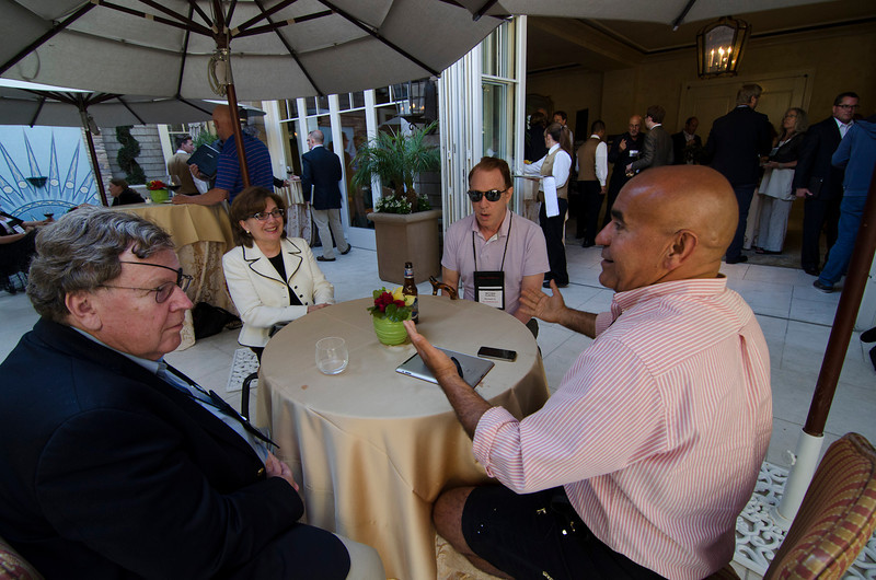 L-R: Jerry Woodall, Nancy Bulger, Matthew Klipstein, and Kamran Elahian.  May 22-25, 2012: At the Montage in Laguna Beach, CA, 200 thought leaders - high technology engineers and executives, entrepreneurs, scientists, and media professionals - gathered for 3 days to participate in FiRe X, the 10th annual Future in Review conference, presented by the Strategic News Service and led by SNS founder and technology visionary Mark Anderson. Interviews, panel discussions, and informal conversations ranged from IP protection to CO2 and climate change, new healthcare paradigms, global economics, ocean toxins, robotics, documentary filmmaking,  medical diagnostics, technology solutions for social issues, global economics, mobile computing, and tech solutions to human trafficking and aging with dignity.