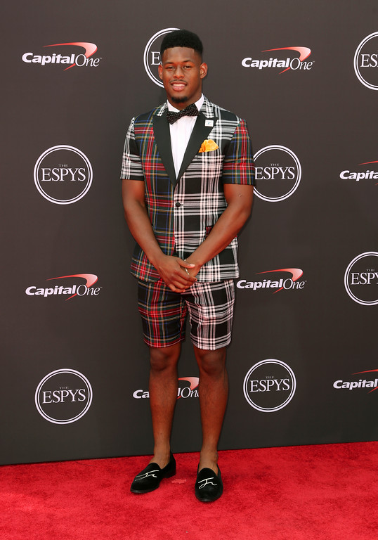 . Pittsburgh Steelers\' JuJu Smith-Schuster arrives at the ESPY Awards at Microsoft Theater on Wednesday, July 18, 2018, in Los Angeles. (Photo by Willy Sanjuan/Invision/AP)