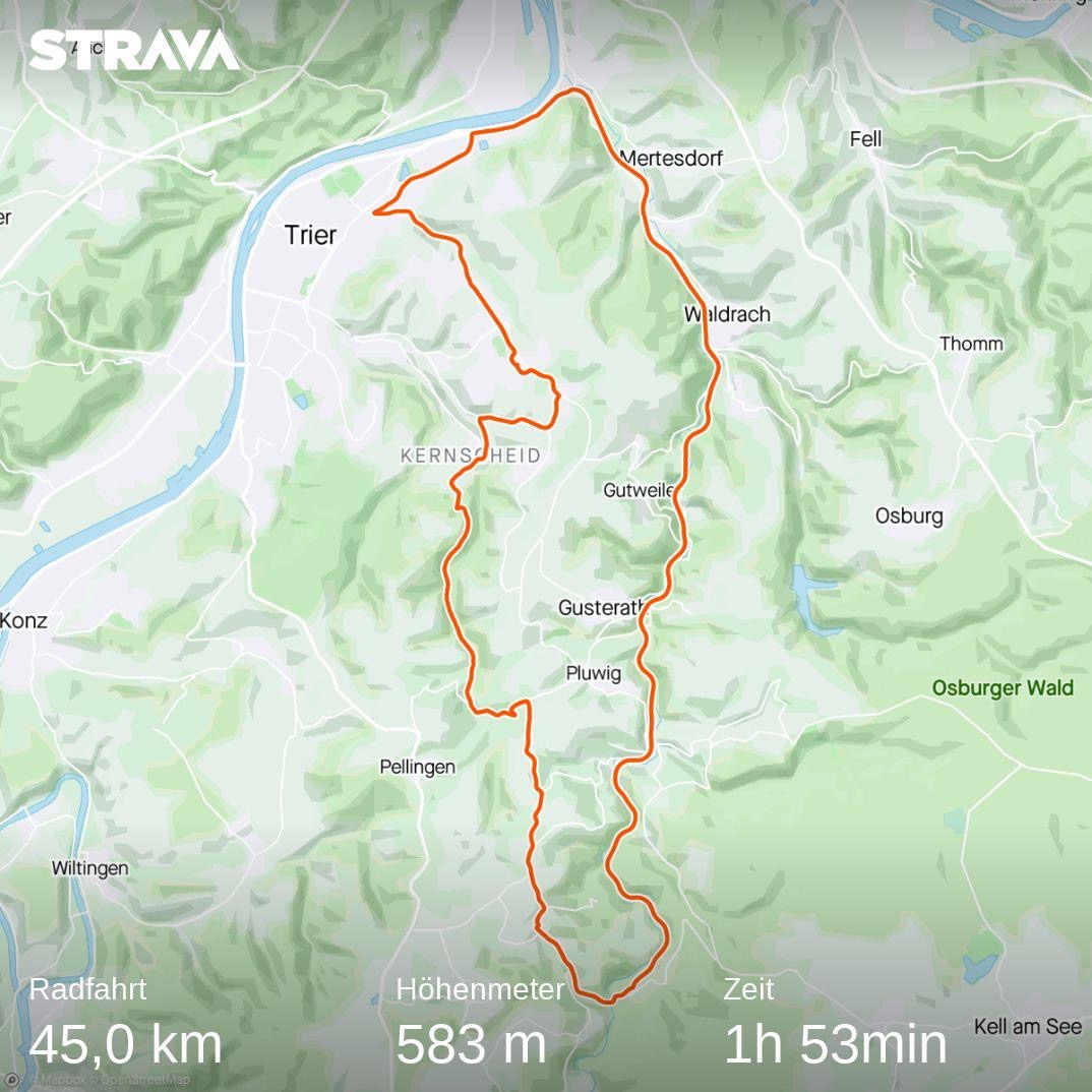 Strava map of a 45 km ride