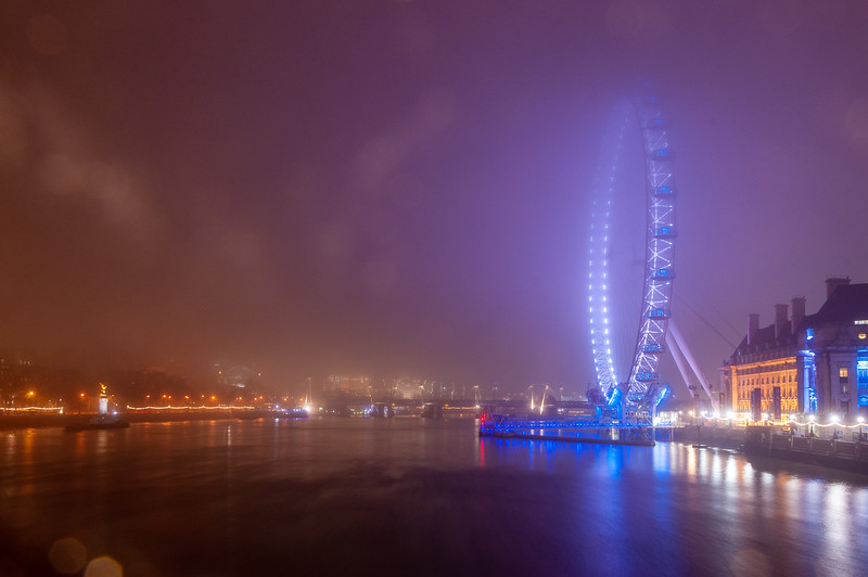Misty night on the River Thames