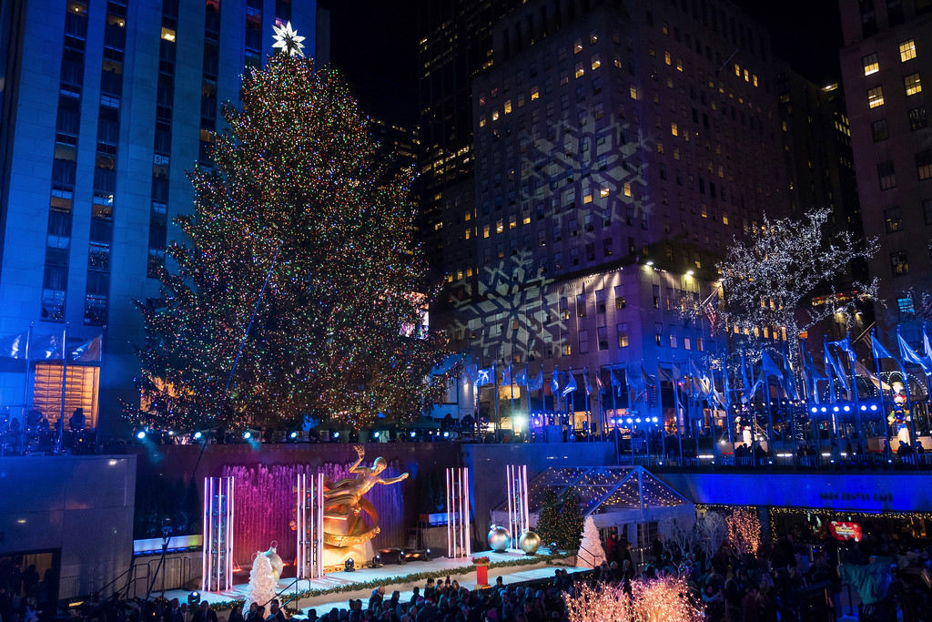 . The Rockefeller Center Christmas Tree is lit during the 85th annual Rockefeller Center Christmas Tree lighting ceremony on Wednesday, Nov. 29, 2017, in New York. (Photo by Charles Sykes/Invision/AP)