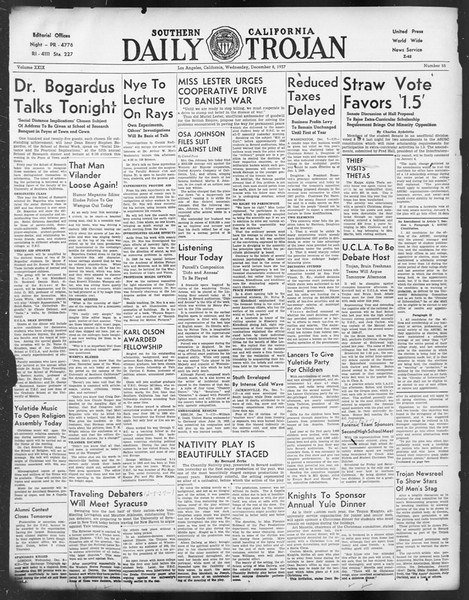 Daily Trojan, Vol. 29, No. 55, December 08, 1937
