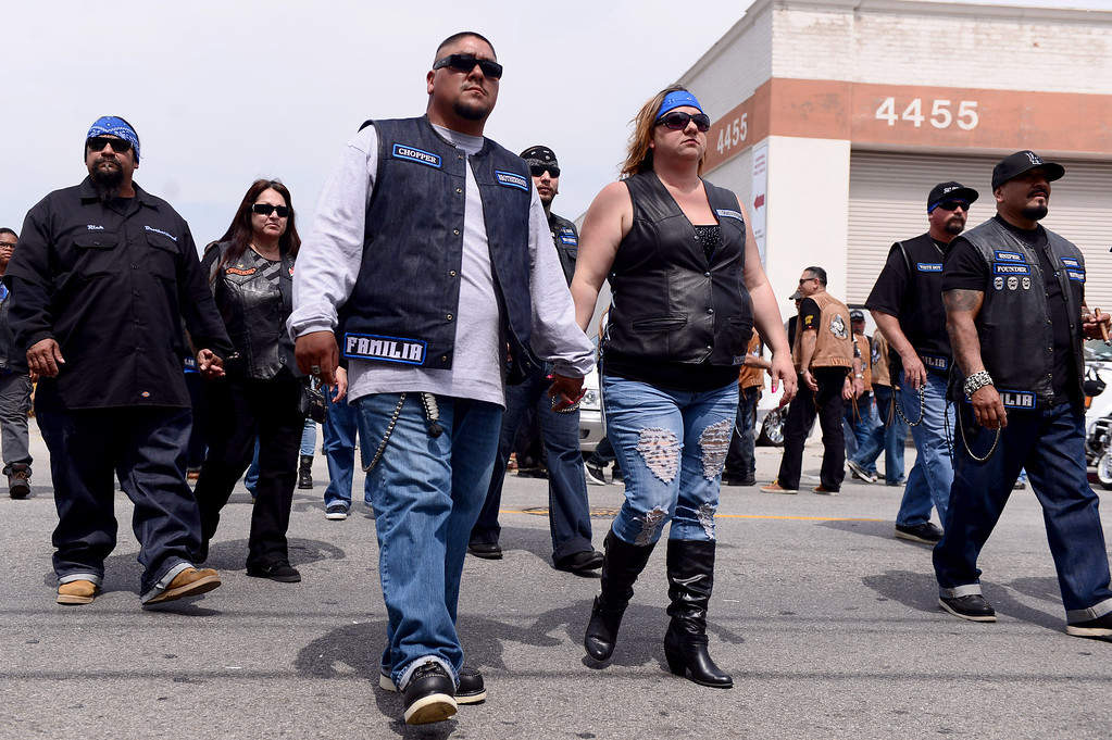 . Motorcycle club members rally Saturday, March 29, 2013 at The House Lounge in Maywood in support of the Mongols who are facing a federal trial seeking to take away their trademark patch. (Photo by Sarah Reingewirtz/Pasadena Star-News)