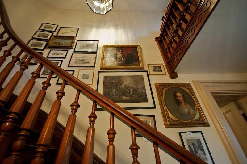 Daniel Carter Beard House - main staircase with artwork by Beard & his parents