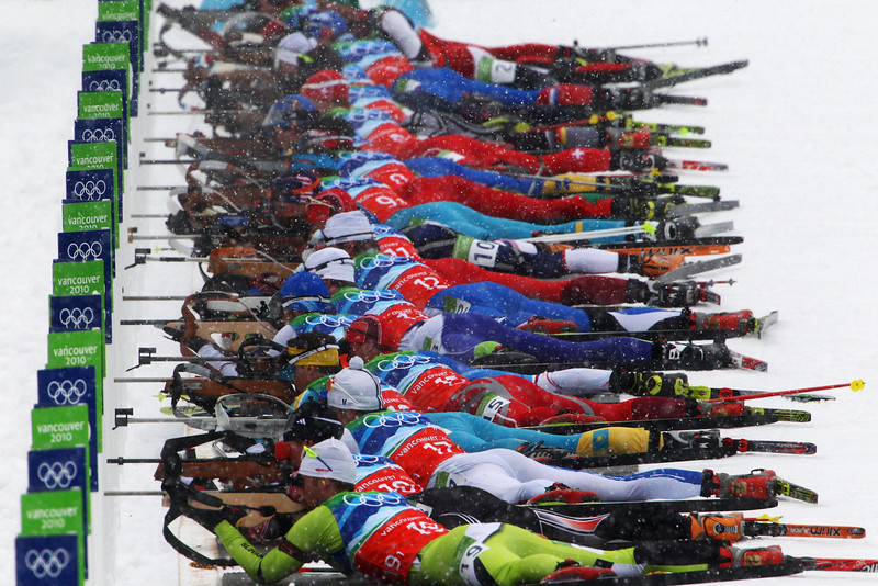 . Competitors shoot during the men\'s 4 x 7.5 km biathlon relay on day 15 of the 2010 Vancouver Winter Olympics at Whistler Olympic Park Cross-Country Stadium on February 26, 2010 in Whistler, Canada.  (Photo by Alexander Hassenstein/Bongarts/Getty Images)