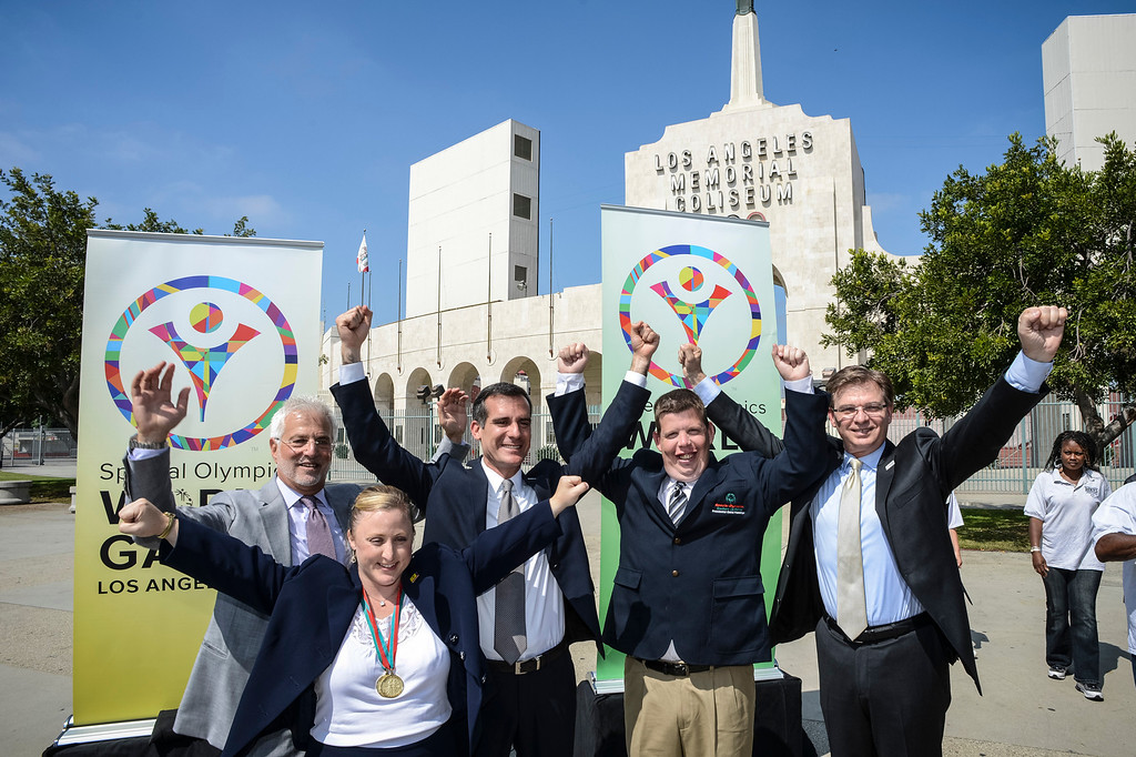 . L to R; Rob Friedman, Co-Chair of the Los Angeles Special Olympics, Debi Anderson, special olympian, Los Angeles mayor Eric Garcetti, Dustin Plunkett, special olympian and Patrick McClenahan, President of LA2015 at the announcement of the 2015 Special Olympics World Games to be held in Los Angeles.   Photo by David Crane/Staff Photographer