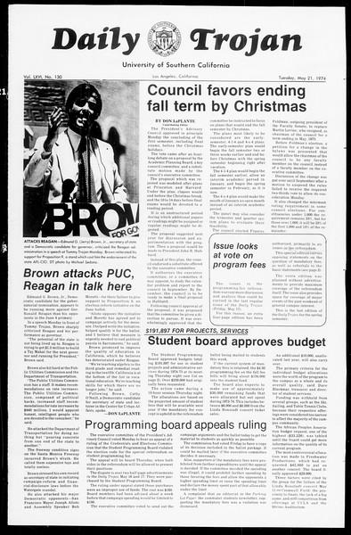 Daily Trojan, Vol. 66, No. 130, May 21, 1974