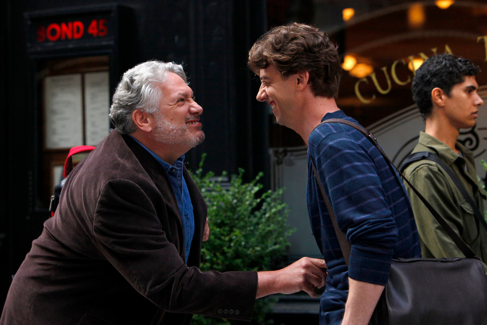""". SMASH -- \""""The Fallout\"""" Episode 202 -- Pictured: (l-r) Harvey Fierstein as Harvey Fierstein, Christian Borle as Tom Levitt -- (Photo by: Will Hart/NBC)"""