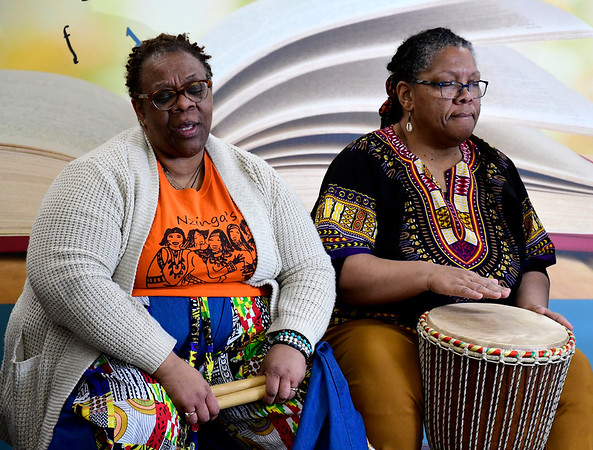 2/29/2020 Mike Orazzi | Staff Nzinga's Daughter's Dayna Snell and Alison Johnson during a performance centered on the Underground Railroad at the New Britain Public Library on Saturday morning.