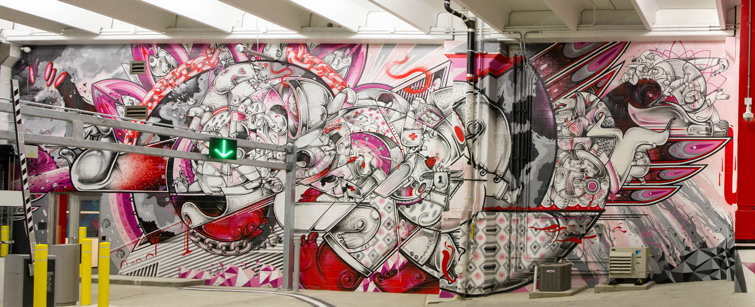""". The left side of one of the murals inside \""""The Z\"""" parking garage, which is now open to the public."""