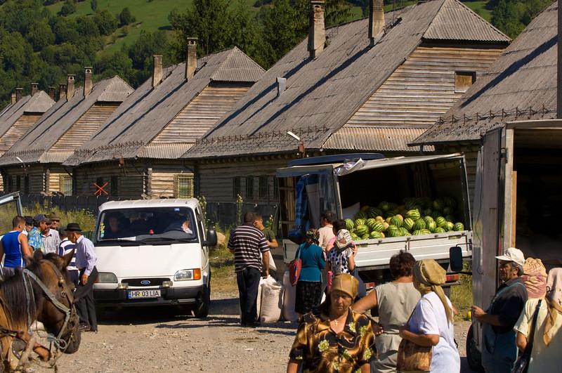 Market in a village near Bicaz, Moldavia, Romania