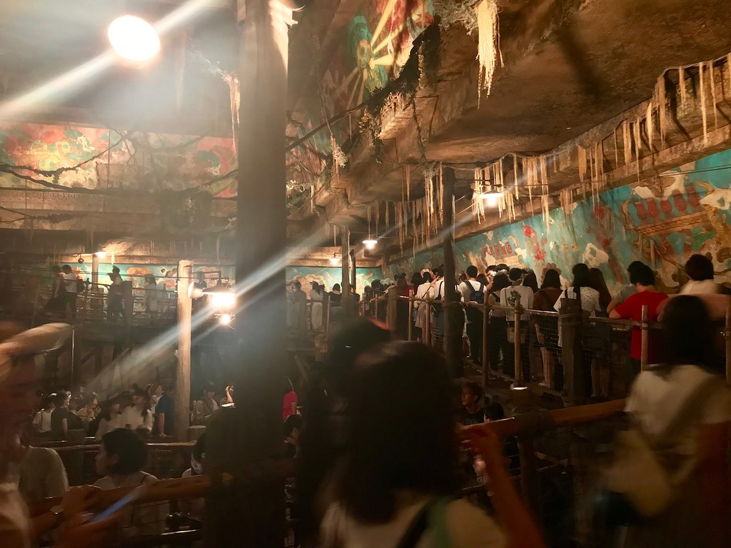 The queue in the 'standby' (i.e. non-FastPass) lane for the Indiana Jones Adventure ride.