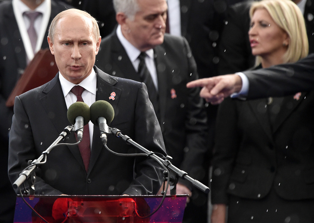 . Russian President Vladimir Putin speaks ahead of a military parade in the Serbian capital Belgrade, on October 16, 2014. ANDREJ ISAKOVIC/AFP/Getty Images